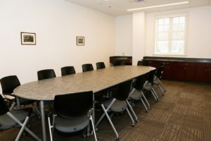 board room with modular table and chairs